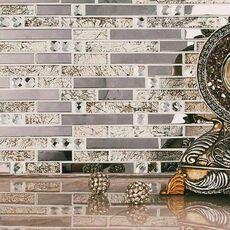 м  SMOKEY BEIGE мозаика стекло+металл на сетке, 300*300*8 мм